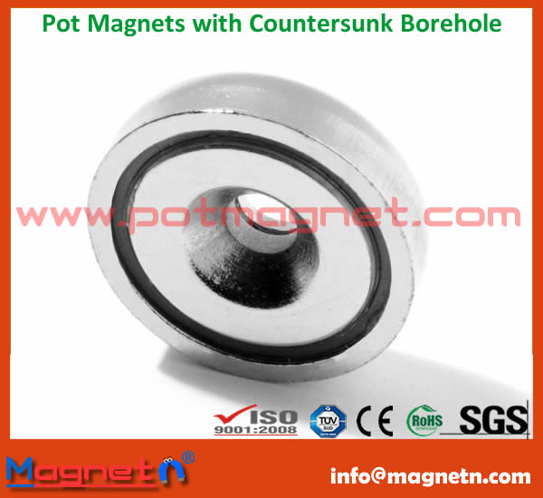 Permanent Pot Magnet With Countersink
