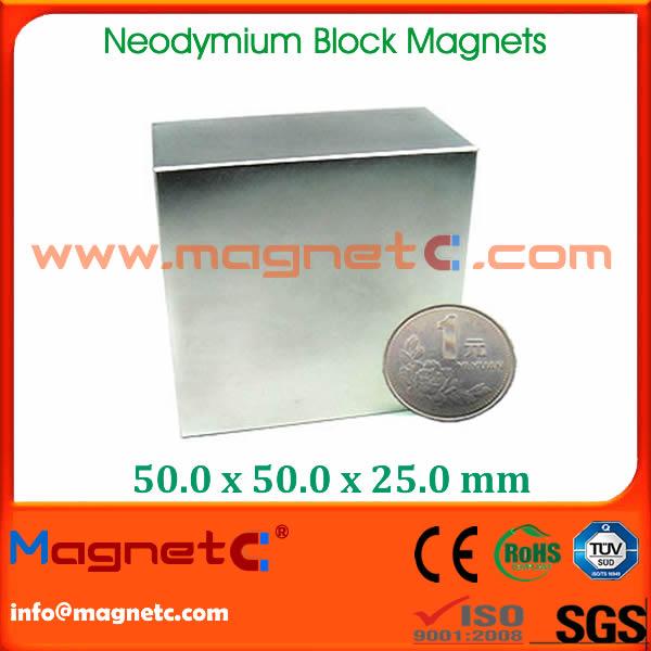 Large Block Magnet N52 Nickel