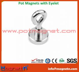Neodymium Pot Magnet with Eyelet