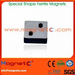 Block Permanent Ferrite Magnet with 2 Holes